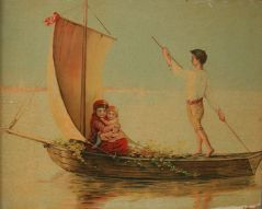 Неизвестен: Деца на лодка.