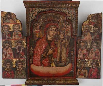 Триптих със Богородица (Неувяхваща роза) и светци