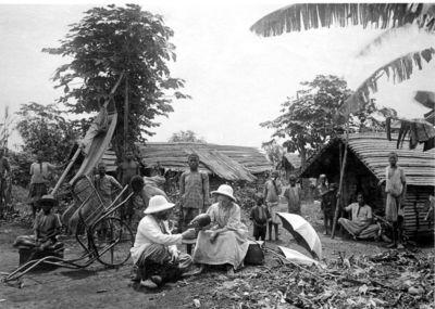 missionär, tropikhjälm, bärstol, fotografi, photograph@eng