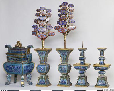 altarset, rökelsekar, blomma, ljusstake, vas, candlestick, vase, wu kung