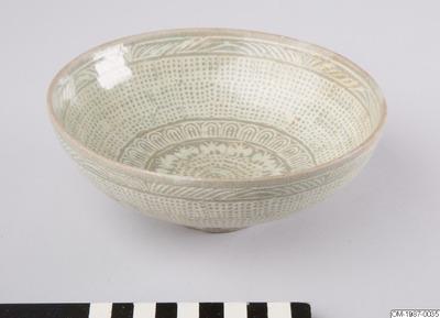 Skål, Husgeråd, Buncheongskål med stämplad dekor och inlagd inskrift, Bowl, Household utensil