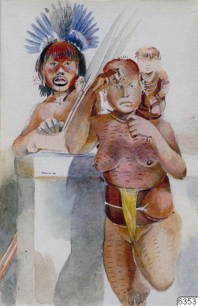 akvarell, barn, kvinna, teckning, indianer, man, Konstverk, art@eng