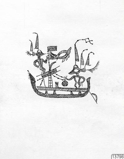 teckning, skepp, människofigur, sked, föremålsbild, Teckning, drawing@eng