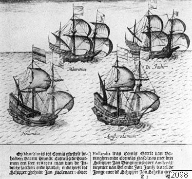 illustration, Cornelius de Houtmans flotta, teckning, fartyg, båt, skepp, Teckning, drawing@eng