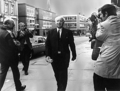 John Poulson, the Pontefract architect. He was convicted of corruption in 1972, for bribing local and national public officials to ensure his firm got building contracts. He is seen on this photograph at his bankruptcy hearing in Wakefield. Photograph courtesy of the Pontefract and Castleford Express.