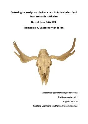 Osteologisk analys av obrända och brända skelettfynd från stenålderslokalen Bastuloken RAÄ 183, Ramsele sn, Västernorrlands län