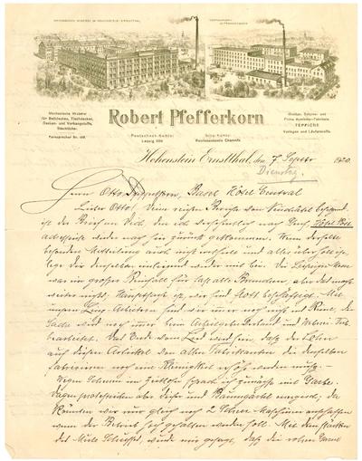 Brief des Fabrikanten Robert Pfefferkorn (1849 - 1934) an seinen Sohn Otto in Basel, 07.09.1920