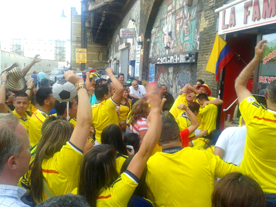 Colombian football fans in Elephant and Castle