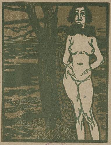 Fa mellet álló női akt