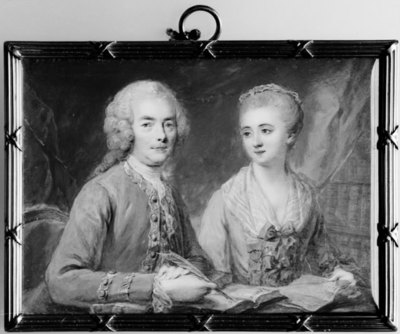 Twin Portrait of a Gentleman and a Lady Sitting at a Table