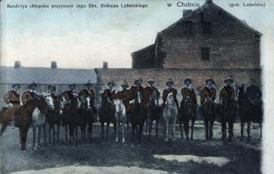 Banderya chłopska przyjmuje Jego Eks. Biskupa Lubelskiego w Chełmie (gub. Lubelska)