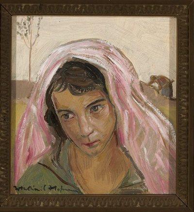 Kobieta w różowym szalu