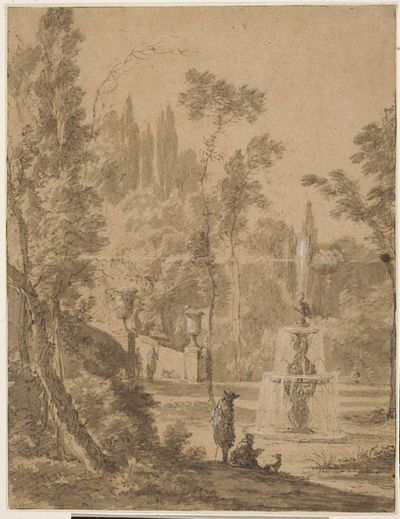 Ogród włoski z fontanną