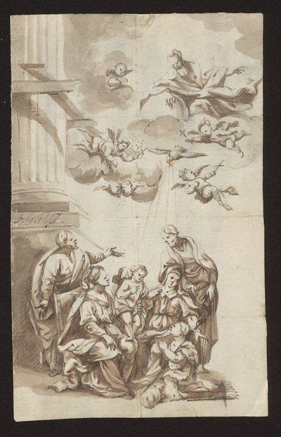 Św. Anna Samotrzeć ze św. Józefem i Joachimem oraz klęczącym św. Janem Chrzcicielem