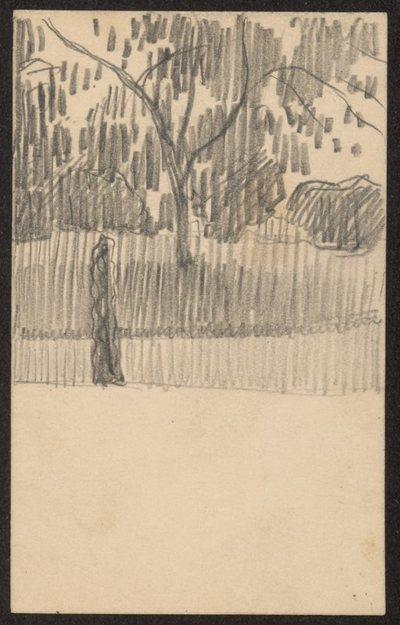 Dwa małe szkice pejzażu na bilecie wizytowym autora