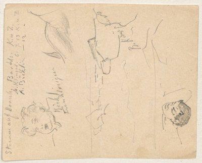 Kwit zarysowany dwustronnie szkicami głów satyrów, tułowia syreny i skał