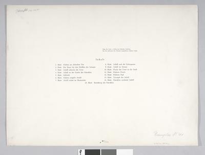Spis plansz graficznych z teki: Achill. 15 Lithographien zur Ilias. Egzeplar No 41