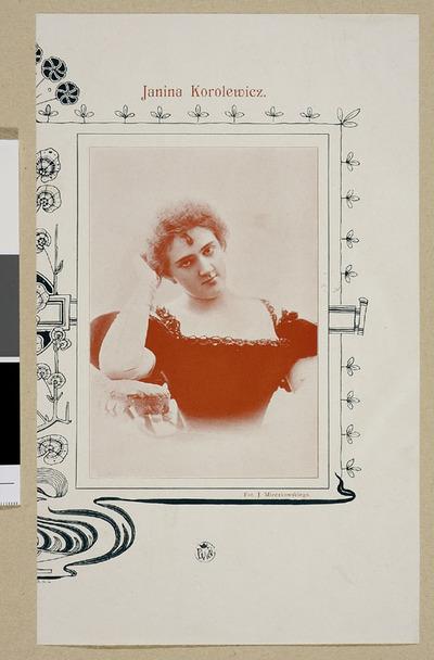 Portret Janiny Korolewiczówny (1876-1955), śpiewaczki ; wycinek z czasopisma