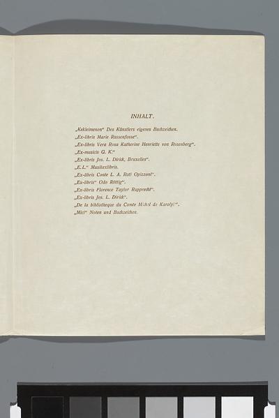 Karta tytułowa i spis ekslibrisów, informacje o nakładzie i kolejnym numerowanym egzemplarzu teki