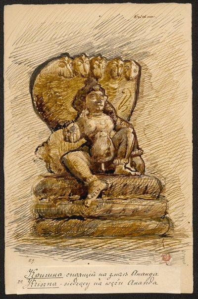 Kryszna siedzący na wężu Ananda, z cyklu