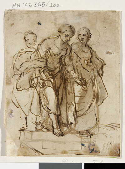 Studium trzech postaci (święta Helena i służący)