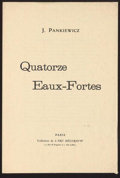 Strona tytułowa teki Quatorze eaux-fortes J Pankiewicz