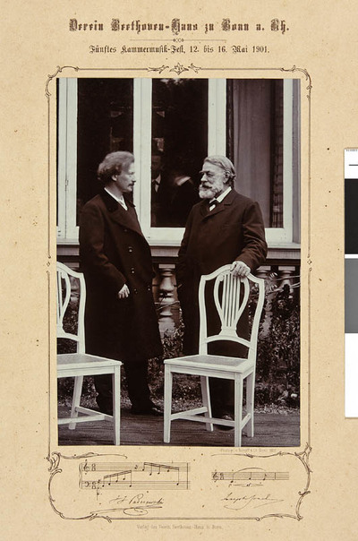 Ignacy Jan Paderewski (1860-1941) i Joseph Joachim (1831-1907) [druk okolicznościowy z fotografią wydany z okazji 5. Festiwalu Muzyki Kameralnej w Bonn, 12-16.V.1901 r.]