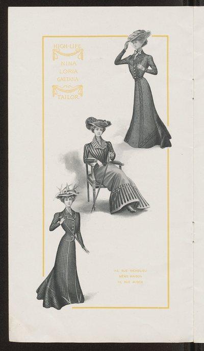Broszura reklamowa domu mody High-Life Tailor w Paryżu na sezon zimowy 1901/1902
