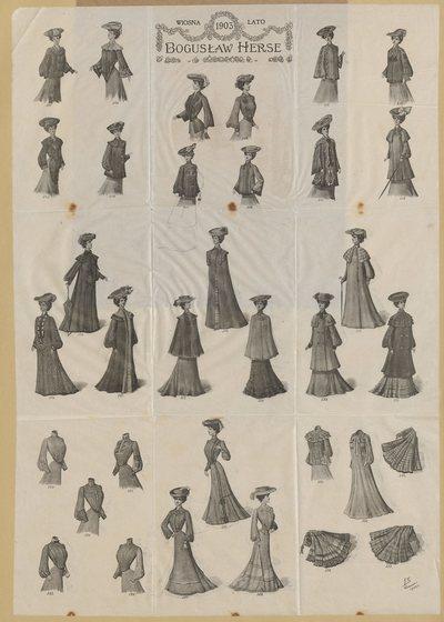Modele ubiorów damskich Domu Mody Bogusław Herse w Warszawie na sezon wiosna-lato 1903 (nry kat. 501-533)