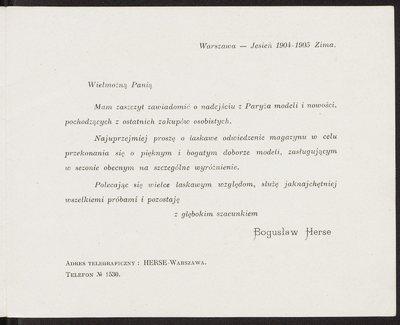 Druk reklamowy Domu Mody Bogusław Herse w Warszawie, ul. Marszałkowska 150, anonsujący kolekcję na sezon jesień-zima 1904/1905