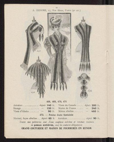Katalog ubiorów damskich firmy futrzarskiej A. Isidore w Paryżu na sezon 1906-1907