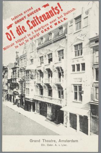 F003588: Prentbriefkaart met reclame voor het Grand Theatre van de gebr. A. van Lier in de Amstelstraat in Amsterdam, circa 1909