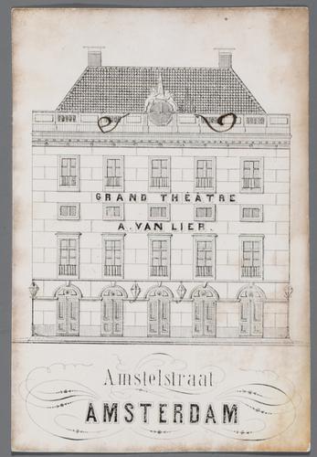 D008799: Visitekaartje van het Grand Theatre A. van Lier met handgeschreven ontvangstbewijs van goederen aan de achterzijde, circ [...]