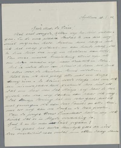 D006769: Brief van Resi (Therese) Alpern-Rothschild en Wine (Alwine) Koekoek-Rothschild in Apeldoorn aan mevr. de Vries, 1943