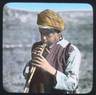 Shepherd boy playing his flute