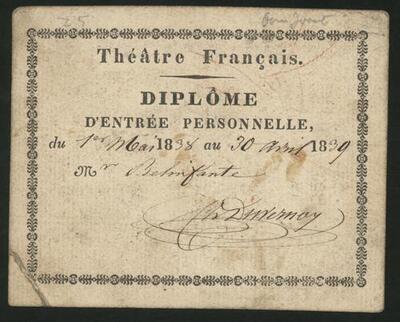 D014632: Toegangsbewijs Theatre Francais ten name van Mr. Belinfante, 1839