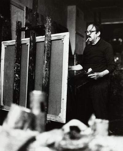 [De schilder Gerrit Brenner in zijn atelier]