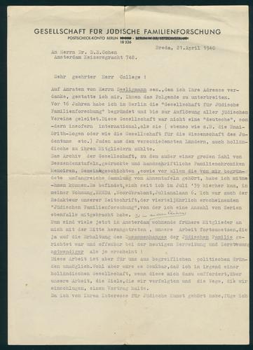 D016548: Documenten (50) uit de nalatenschap van de huidarts David Ezechiël Cohen, ca. 1933-1941 - deel I.