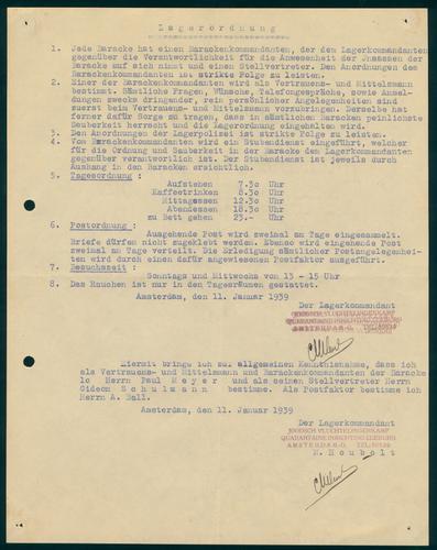 D017113: Documenten m.b.t. de organisatie van het Joods Vluchtelingenkamp Quarantaine-Inrichting Zeeburg, 1939