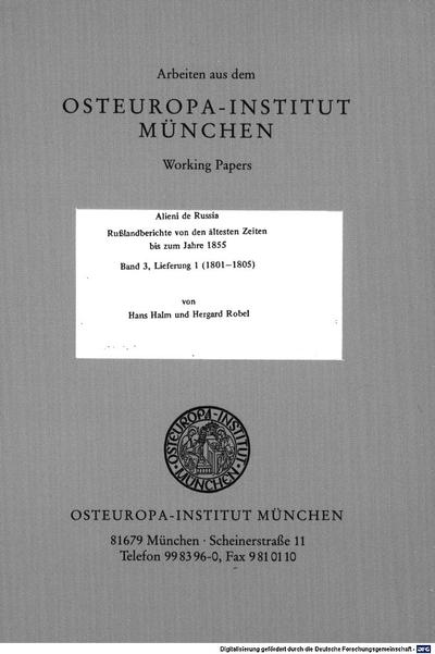 Alieni de Russia :Rußlandberichte von den ältesten Zeiten bis zum Jahre 1855. 3,1, 1801 - 1805