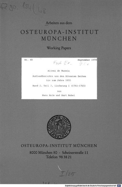 Alieni de Russia :Rußlandberichte von den ältesten Zeiten bis zum Jahre 1855. 2,2,1, 1761 - 1765
