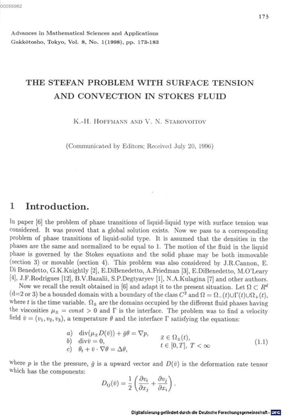 ˜Theœ Stefan problem with surface tension and convection in a Stokes fluid