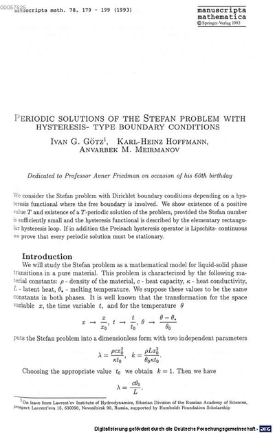 Periodic solutions of the Stefan problem with hysteresis- type boundary conditions