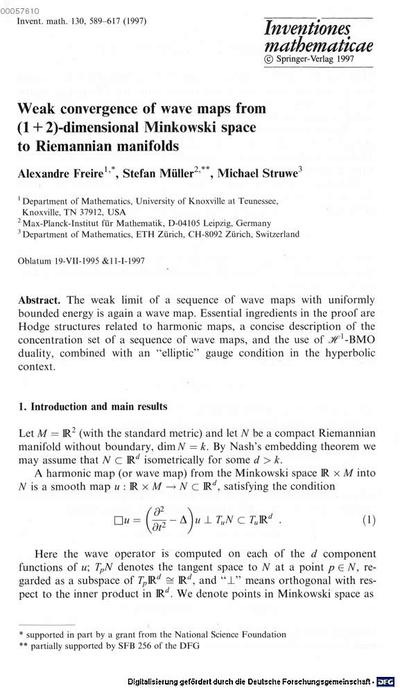 Weak convergence of wave maps from (2+1)-dimensional Minkowski space to Riemannian manifolds