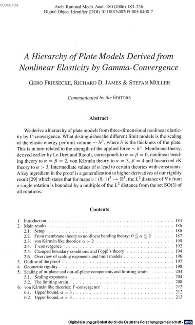 ˜Aœ hierarchy of plate models derived from nonlinear elasticity by Gamma-convergence