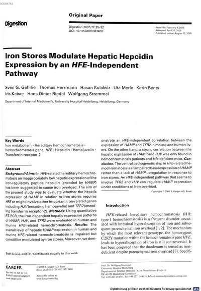 Iron stores modulate hepatic hepcidin expression by an HFE-independent pathway