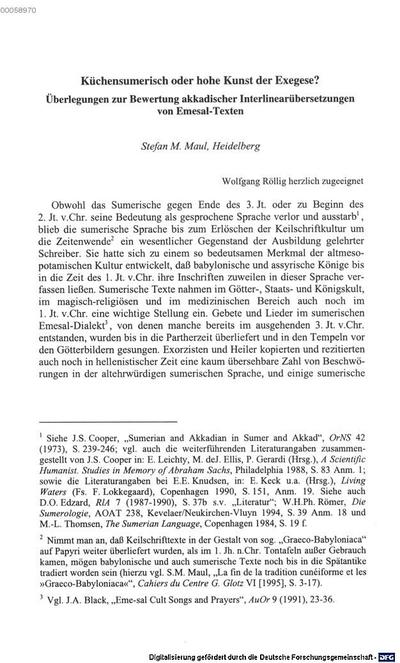 Küchensumerisch oder hohe Kunst der Exegese ? :Überlegungen zur Bewertung akkadischer Interlinearübersetzungen von Emesal-Texten
