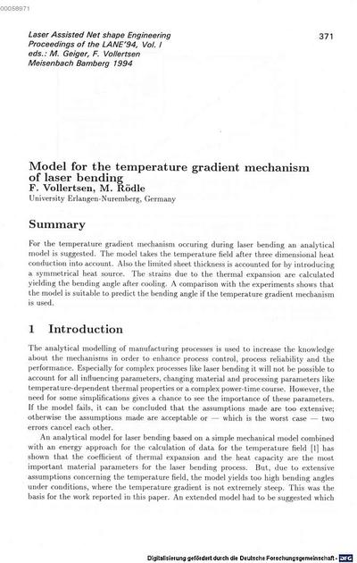 Model for the temperature gradient mechanism of laser bending