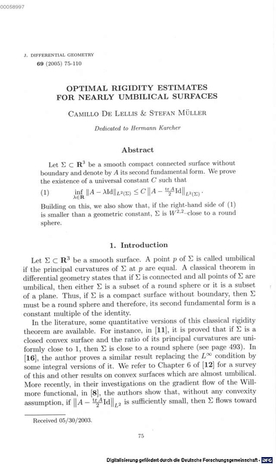 Optimal rigidity estimates for nearly umbilical surfaces :dedicated to Hermann Karcher