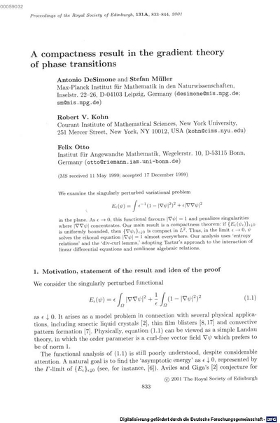 ˜Aœ compactness result in the gradient theory of phase transitions